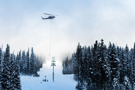 Chairlift towers flown in at Sun Peaks Resort